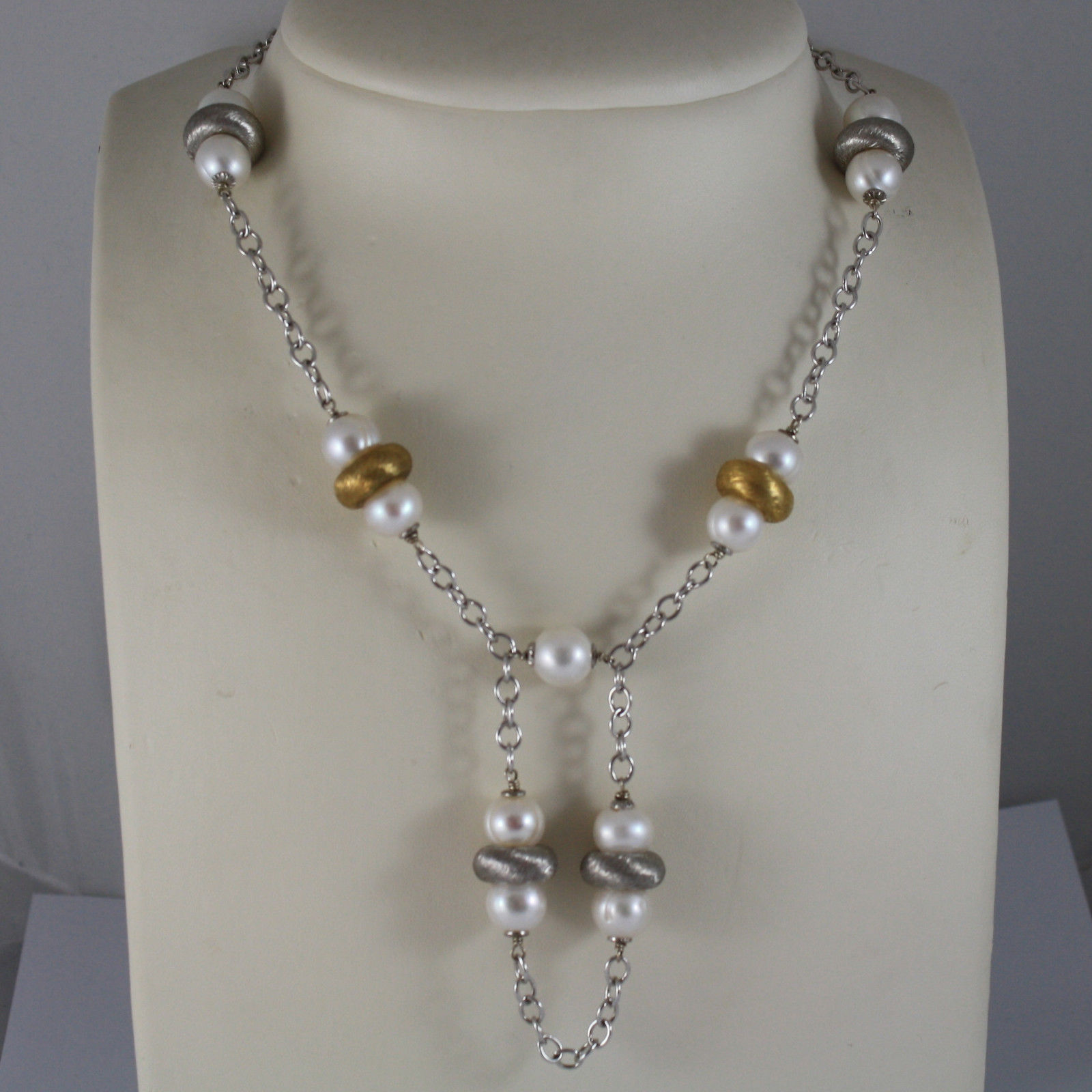 .925 RHODIUM SILVER NECKLACE WITH WHITE PEARLS AND YELLOW GOLD PLATED DISC