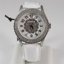 REBECCA WATCH AGROBB27, WHITE LEATHER STRAP, STAINLESS STEEL CASE WITH CRYSTALS