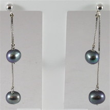 18K WHITE GOLD PENDANT EARRINGS WITH ROUND BLACK PEARLS, MADE IN ITALY