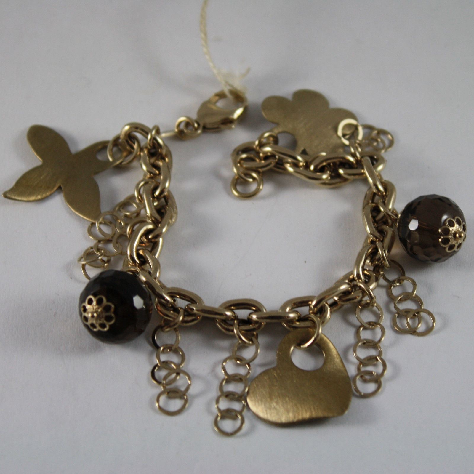 .925 RHODIUM SILVER YELLOW GOLD PLATED BRACELET WITH SMOKY QUARTZ AND CHARMS