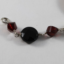 .925 RHODIUM SILVER BRACELET WITH PINK JADE, RED CRISTAL, AND BLACK ONYX image 3