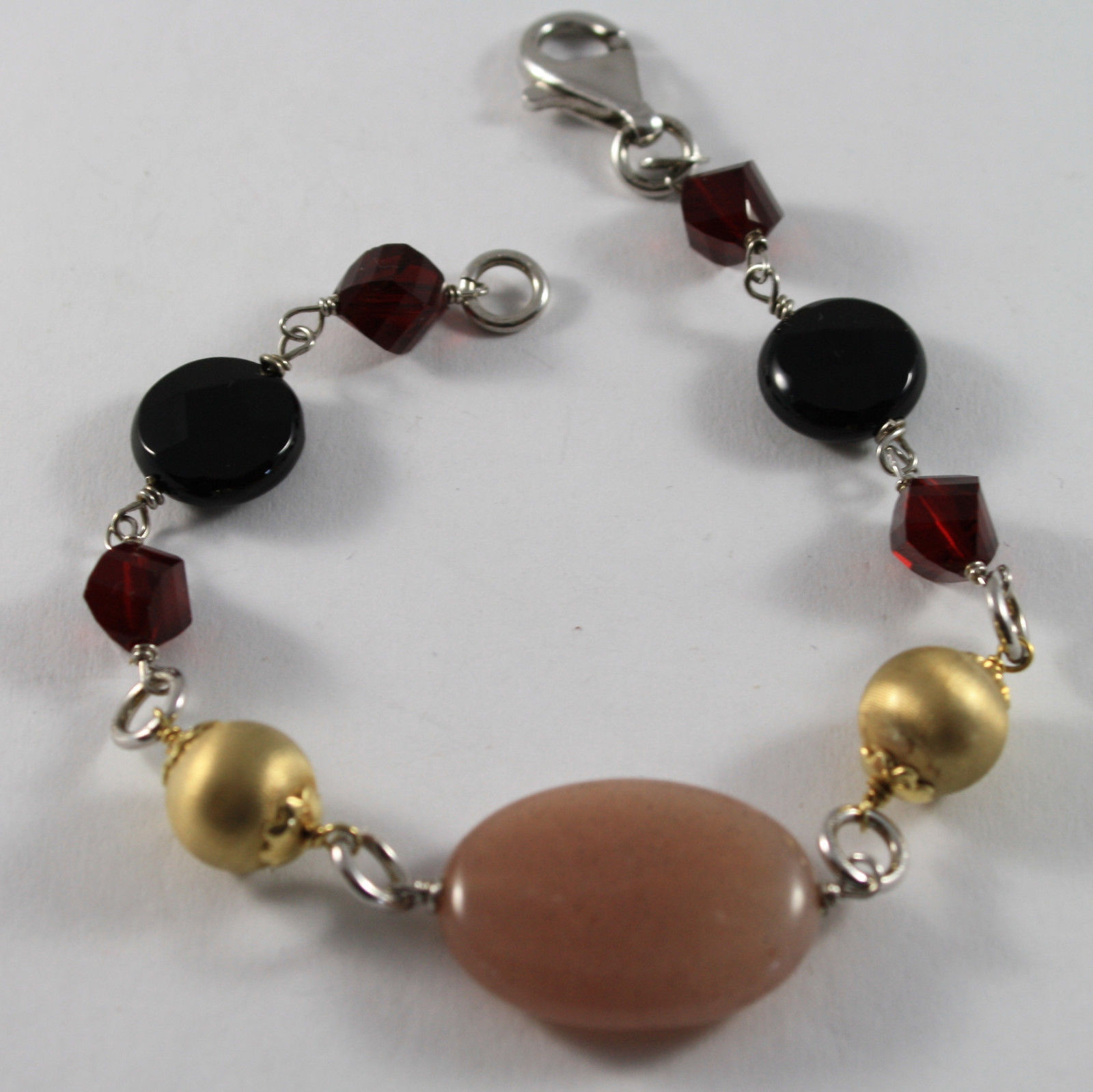 .925 RHODIUM SILVER BRACELET WITH PINK JADE, RED CRISTAL, AND BLACK ONYX