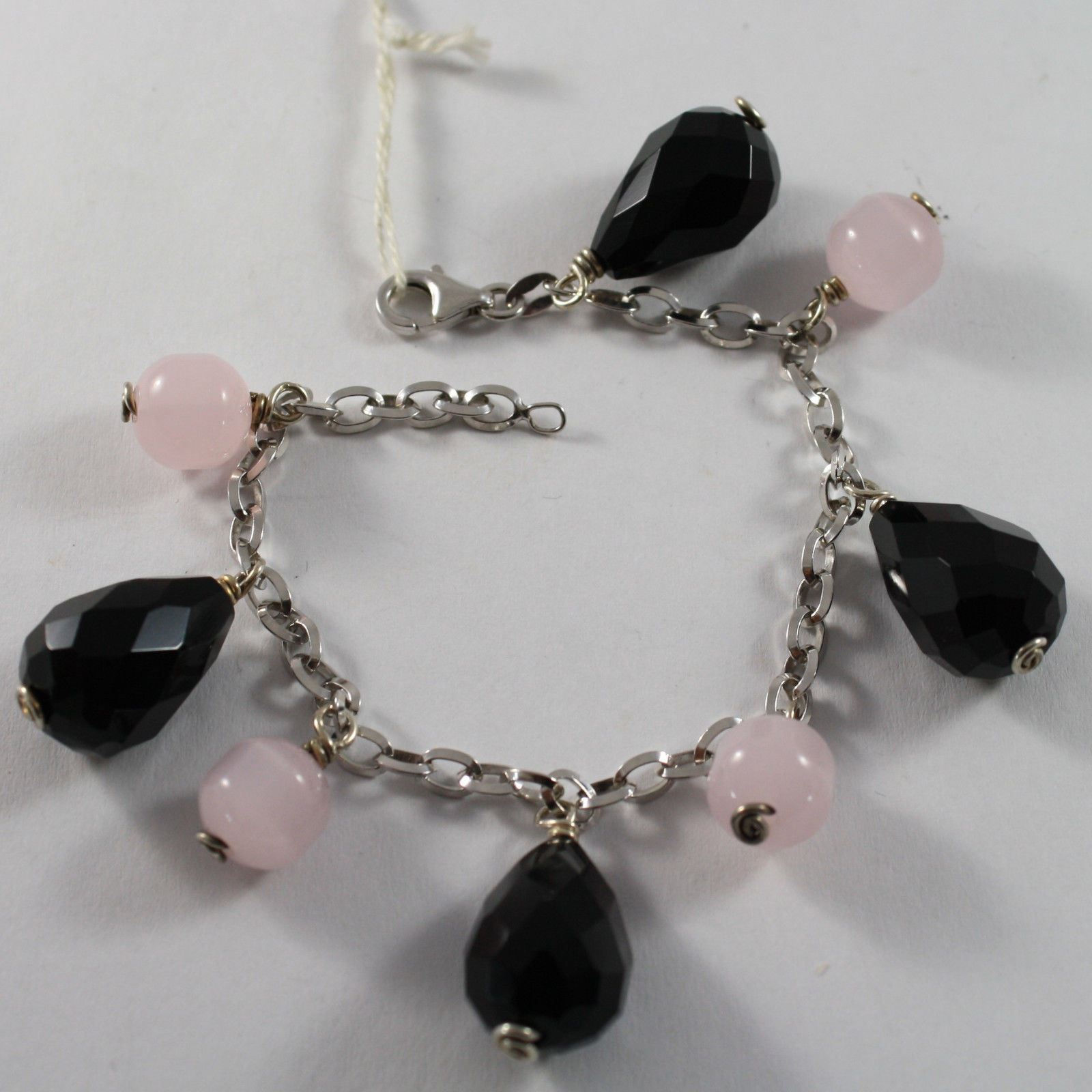 .925 RHODIUM SILVER BRACELET WITH PINK CRISTAL AND DROPS OF BLACK ONYX