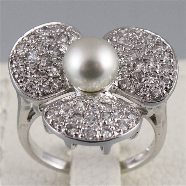 925 RHODIUM SILVER RING WITH PEARL AND CLOVER OF STONES, BRILLANT CUT
