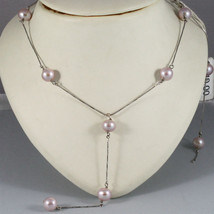 18K WHITE GOLD SCARF NECKLACE WITH PENDANT, PURPLE PEARLS, MADE IN ITALY