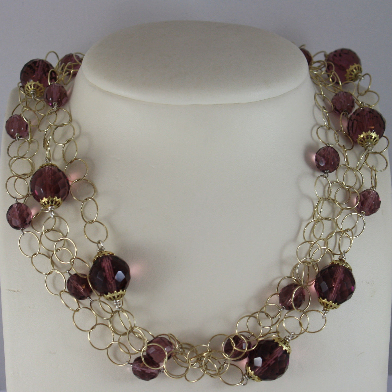 .925 RHODIUM SILVER YELLOW GOLD PLATED, MULTI STRAND NECKLACE WITH CRISTALS