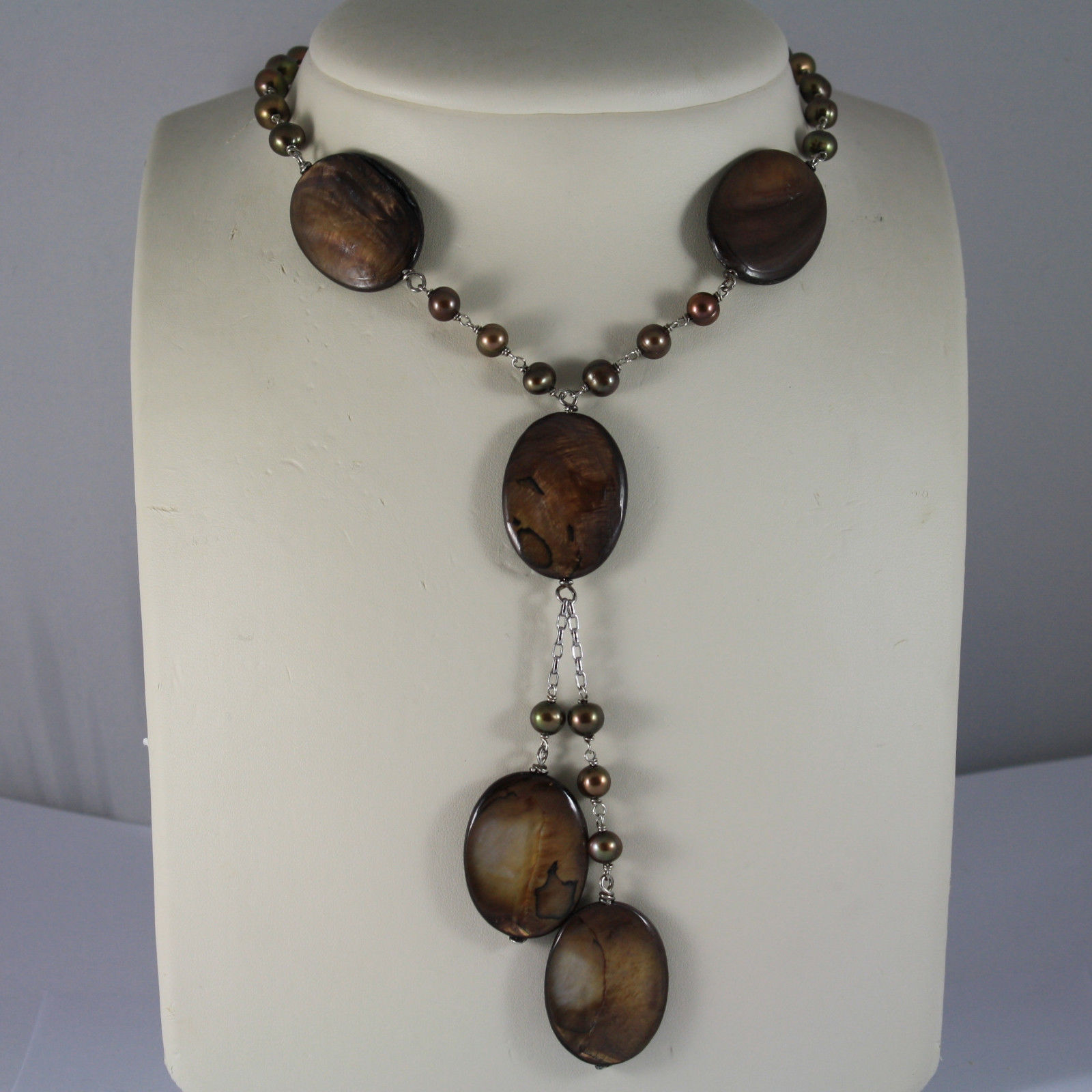.925 RHODIUM SILVER NECKLACE WITH BROWN PEARLS AND BROWN MOTHER OF PEARL