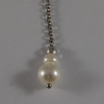 SOLID 18K WHITE GOLD PENDANTS EARRINGS WITH FRESHWATER WHITE PEARL AND GOLD BALL image 3