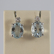 SOLID 18K WHITE GOLD EARRINGS, OVAL AQUAMARINE CT. 2.60 AND DIAMONDS CT. 0.04