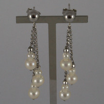 SOLID 18K WHITE GOLD PENDANTS EARRINGS WITH FRESHWATER WHITE PEARL AND GOLD BALL