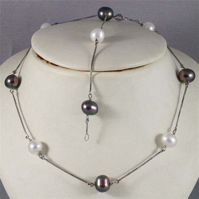 18K WHITE GOLD NECKLACE (44 CM, 17.32 IN) WITH BLACK WHITE PEARLS, MADE IN ITALY