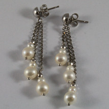 SOLID 18K WHITE GOLD PENDANTS EARRINGS WITH FRESHWATER WHITE PEARL AND GOLD BALL image 2