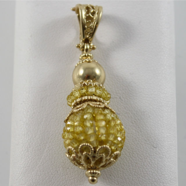 925 SILVER PENDANT PL. GOLD WITH LEMON QUARTZ, MADE IN ITALY BY SAVOIA JEWELS