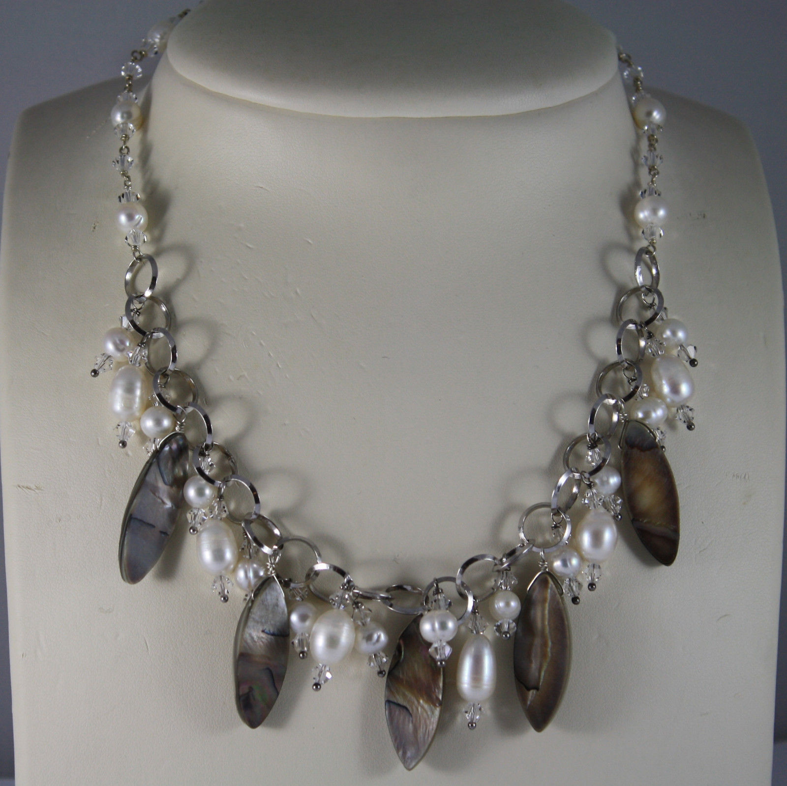 .925 RHODIUM SILVER NECKLACE WITH CRYSTALS, PEARLS AND OVAL MOTHER OF PEARL