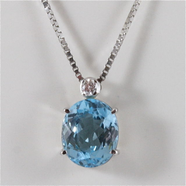 18K WHITE GOLD NECKLACE BLUE TOPAZ PENDANT AND DIAMOND CT 0.10, MADE IN ITALY