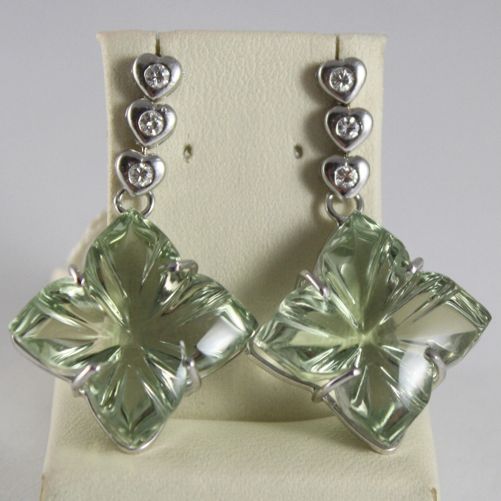 SOLID 18K WHITE GOLD EARRINGS HEART, DIAMOND PRASIOLITE FLOWER CUT MADE IN ITALY