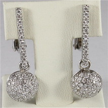 18K WHITE GOLD DIAMONDS BALL PENDANT EARRINGS, CT1.24, COLOR H, MADE IN ITALY