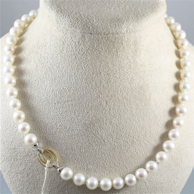 NECKLACE WITH WHITE PEARLS DIAMETER .33 In AND 18K 750 YELLOW WHITE GOLD CLOSURE