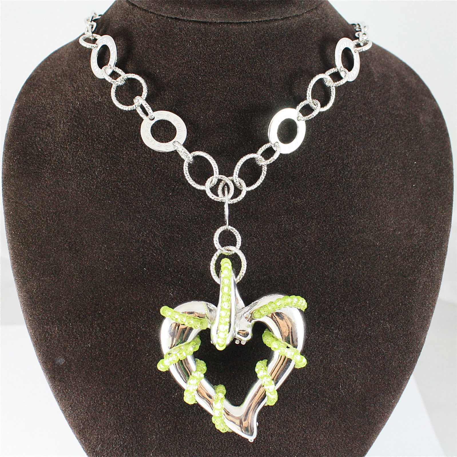 925 RHODIUM SILVER PENDANT WITH FACETED PERIDOT MADE IN ITALY BY SAVOIA JEWELS
