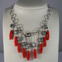 .925 RHODIUM NECKLACE WITH STRIATED GRAY PEARL AND RED CORAL BAMBOO