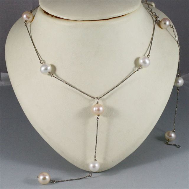 18K WHITE GOLD SCARF NECKLACE WITH PENDANT, WHITE AND ROSE PEARLS, MADE IN ITALY