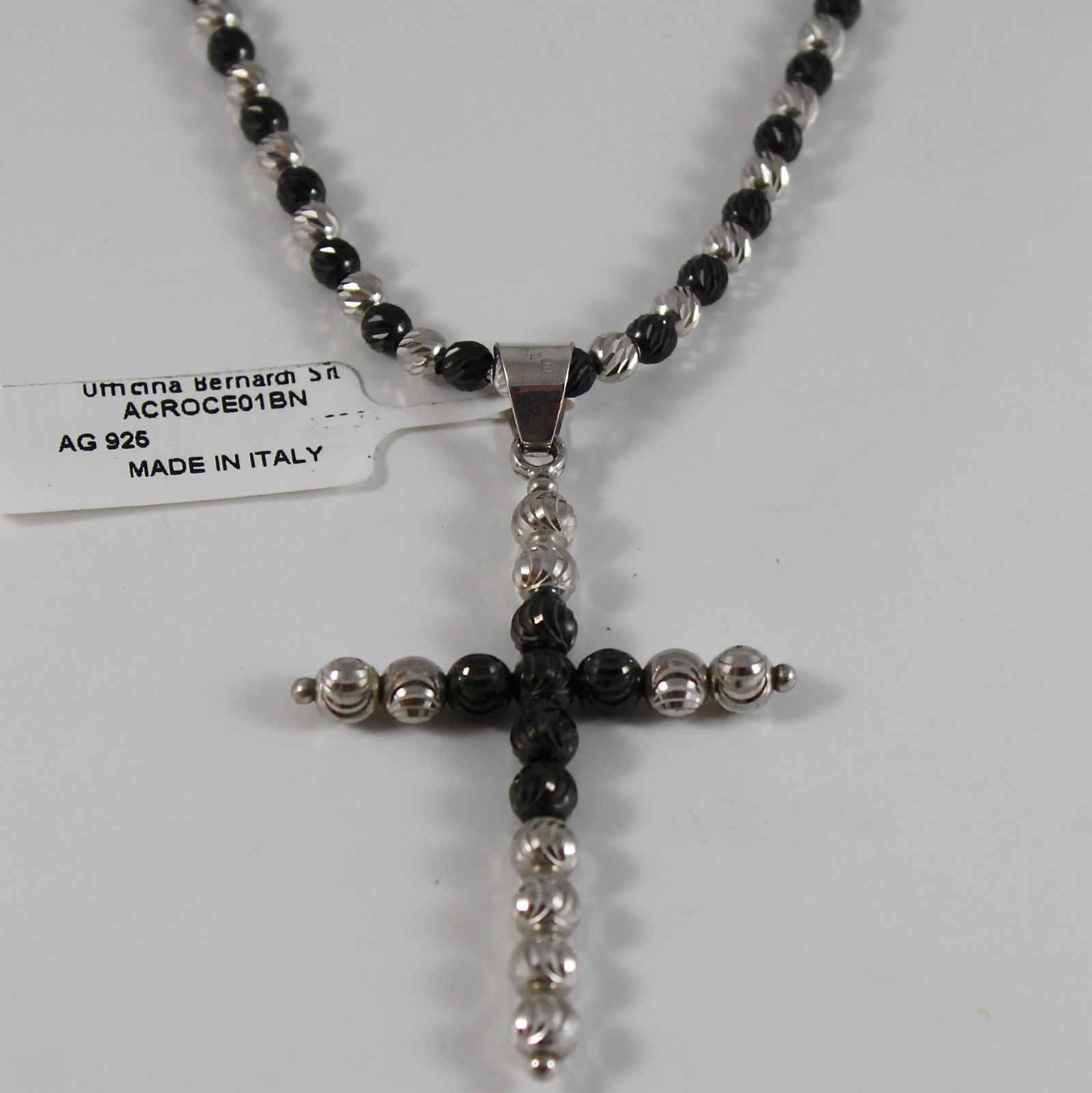 925 BURNISHED SILVER NECKLACE CROSS OFFICINA BERNARDI FACETED BALLS MADE ITALY
