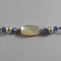 .925 SILVER RHODIUM NECKLACE WITH BLUE CRISTALS, WHITE PEARLS, MOTHER OF PEARL image 3