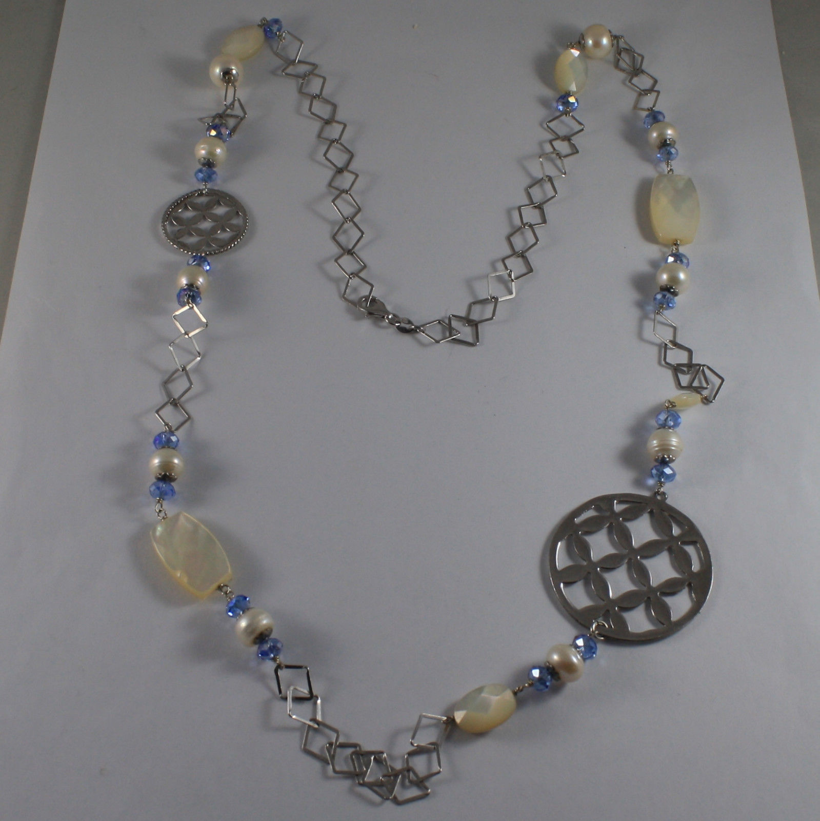 .925 SILVER RHODIUM NECKLACE WITH BLUE CRISTALS, WHITE PEARLS, MOTHER OF PEARL