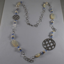 .925 SILVER RHODIUM NECKLACE WITH BLUE CRISTALS, WHITE PEARLS, MOTHER OF PEARL image 2