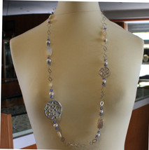 .925 SILVER RHODIUM NECKLACE WITH BLUE CRISTALS, WHITE PEARLS, MOTHER OF PEARL image 1