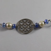 .925 SILVER RHODIUM NECKLACE WITH BLUE CRISTALS, WHITE PEARLS, MOTHER OF PEARL image 5