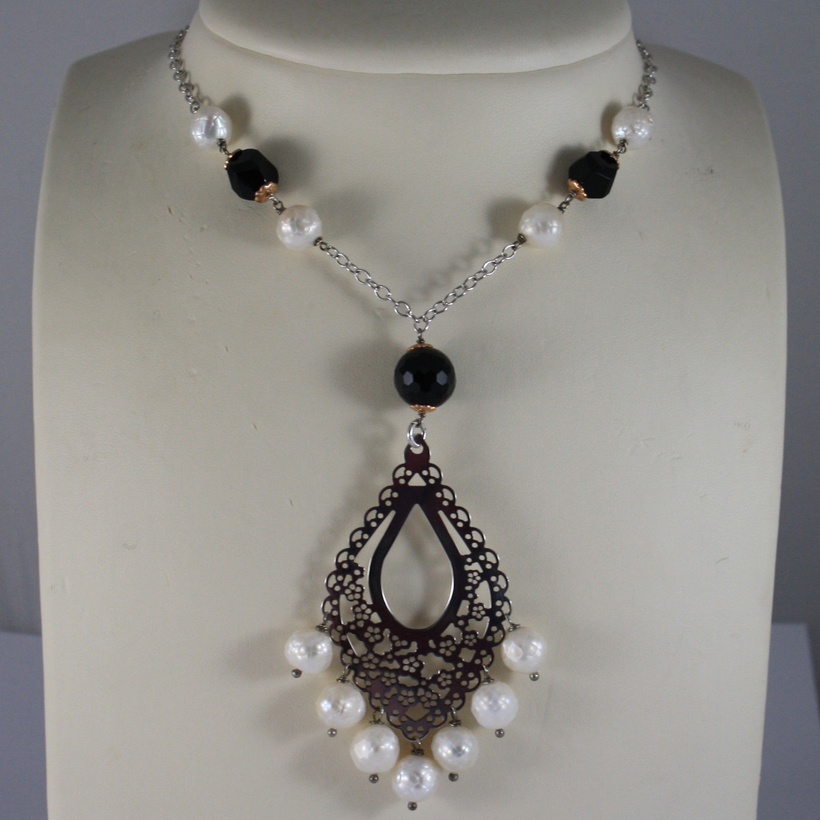 .925 RHODIUM SILVER NECKLACE WITH BLACK ONYX , WHITE PEARL AND DROP