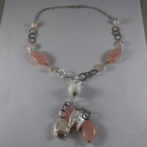 .925 SILVER RHODIUM NECKLACE WITH BAROQUE WHITE PEARLS, AGATE AND PINK QUARTZ image 1