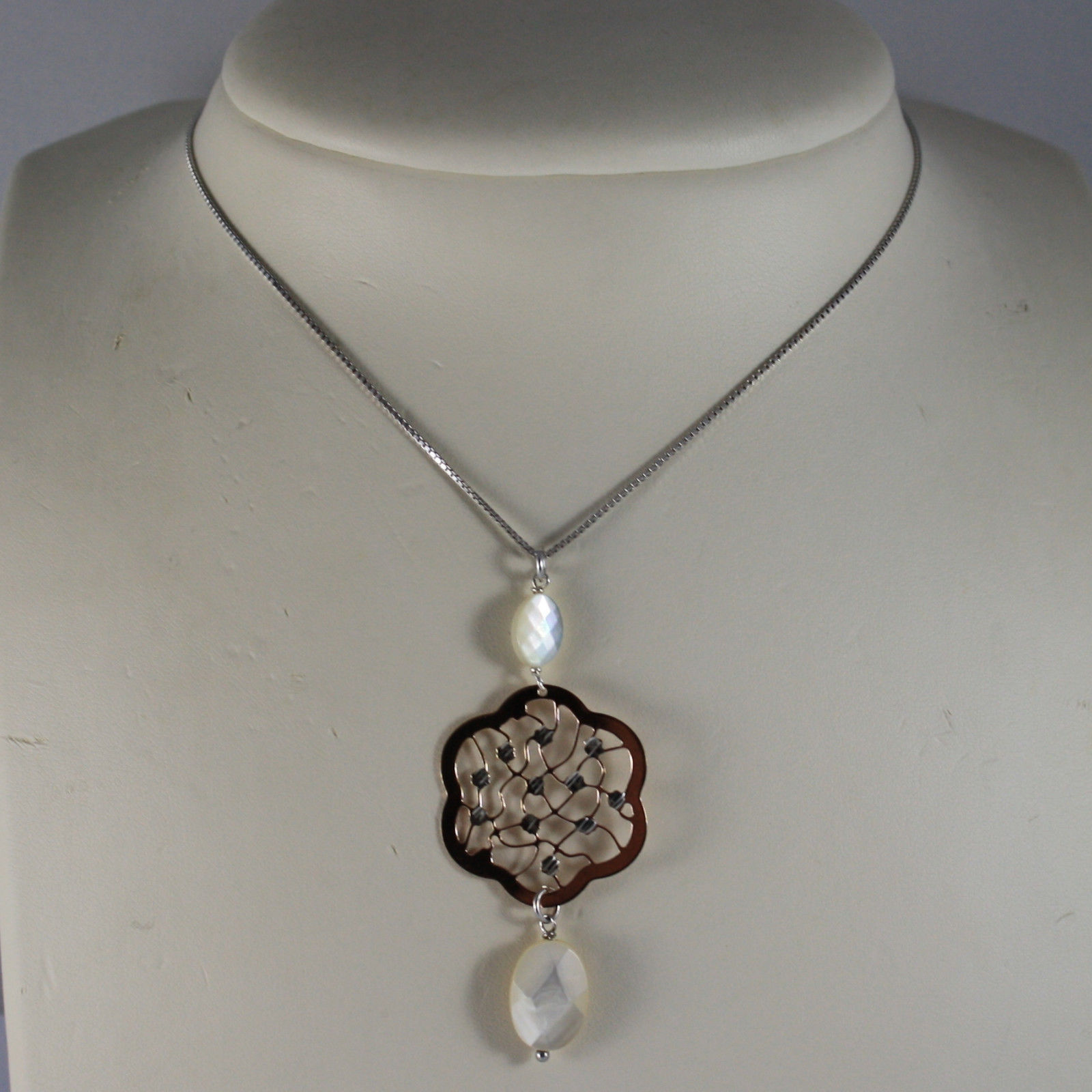 .925 RHODIUM SILVER NECKLACE WITH PENDANT ROSE GOLD PLATED AND MOTHER OF PEARL