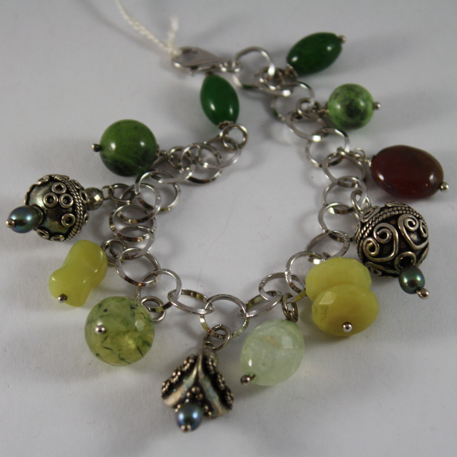 .925 RHODIUM SILVER BRACELET WITH GREEN JASPER, BROWN AGATE AND GREEN JADE