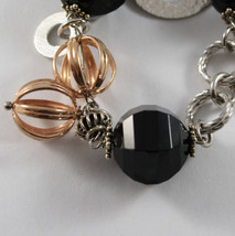 .925 RHODIUM SILVER AND ROSE GOLD PLATED BRACELET WITH BLACK ONYX image 2