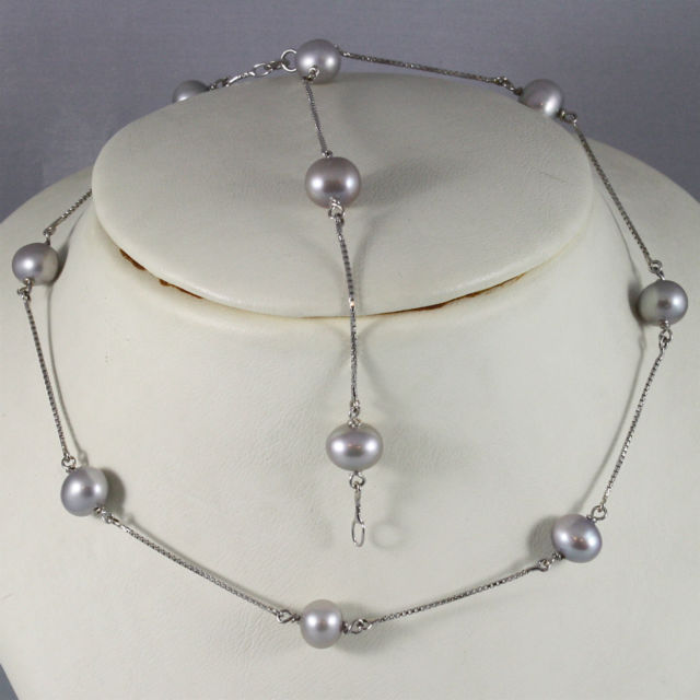 18K WHITE GOLD NECKLACE (40 CM, 15.75 IN) WITH GRAY PEARL, MADE IN ITALY