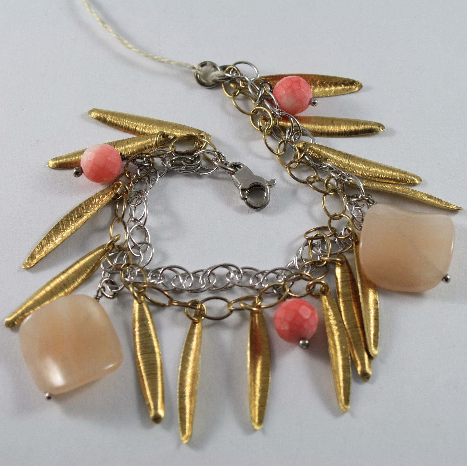 .925 RHODIUM SILVER AND YELLOW GOLD PLATED BRACELET WITH CORAL BAMBOO AND JADE