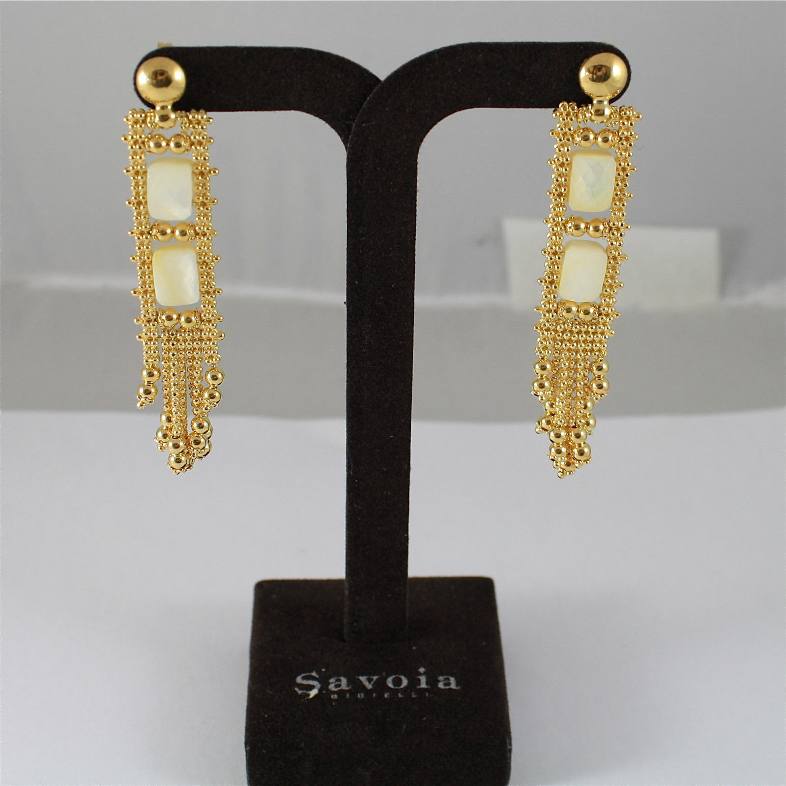 925 SILVER EARRINGS, GOLD PLATED, MOTHER OF PEARL, MADE IN ITALY BY SAVOIA