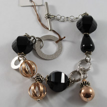.925 RHODIUM SILVER AND ROSE GOLD PLATED BRACELET WITH BLACK ONYX