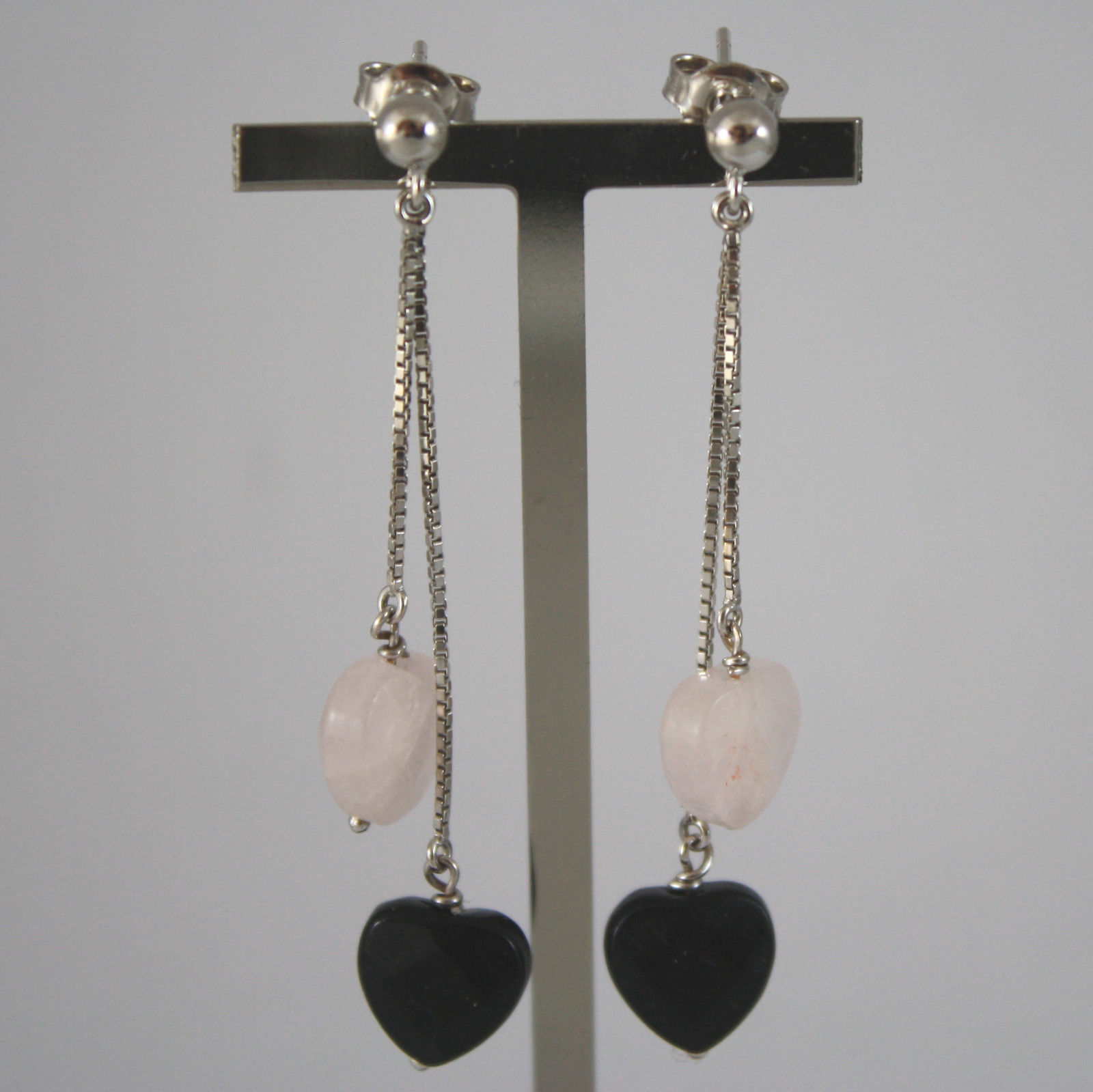 SOLID 18K WHITE GOLD EARRINGS, WITH HEART OF PINK QUARTZ AND BLACK ONYX