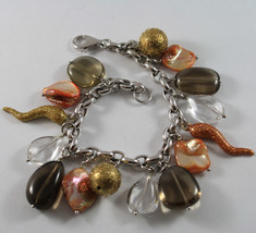 .925 RHODIUM SILVER BRACELET WITH SMOKY QUARTZ, ORANGE MOTHER OF PEARL, CRISTAL