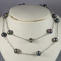 18K WHITE GOLD LONG NECKLACE (64 CM, 25.2 IN) WITH BLACK PEARLS, MADE IN ITALY