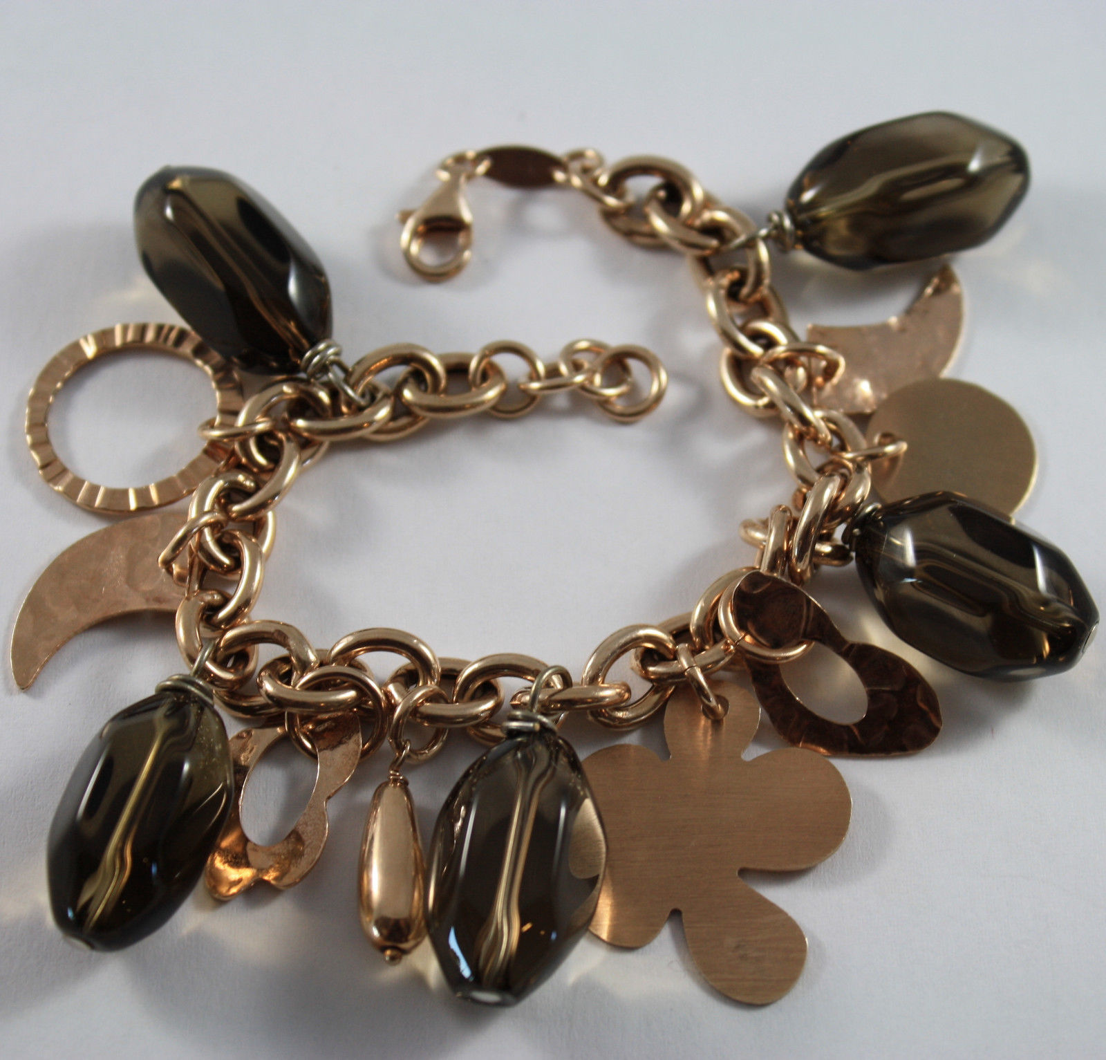 .925 RHODIUM SILVER ROSE GOLD PLATED BRACELET WITH SMOKY QUARTZ AND CHARMS