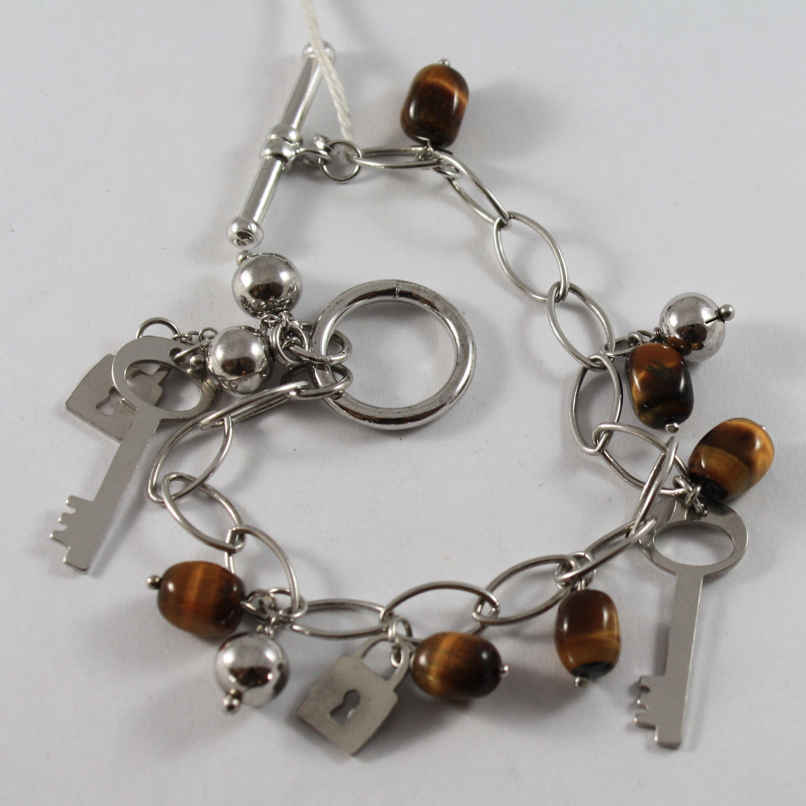 .925 RHODIUM SILVER BRACELET WITH TIGER'S EYE AND CHARMS OF KEYS AND LOCKS