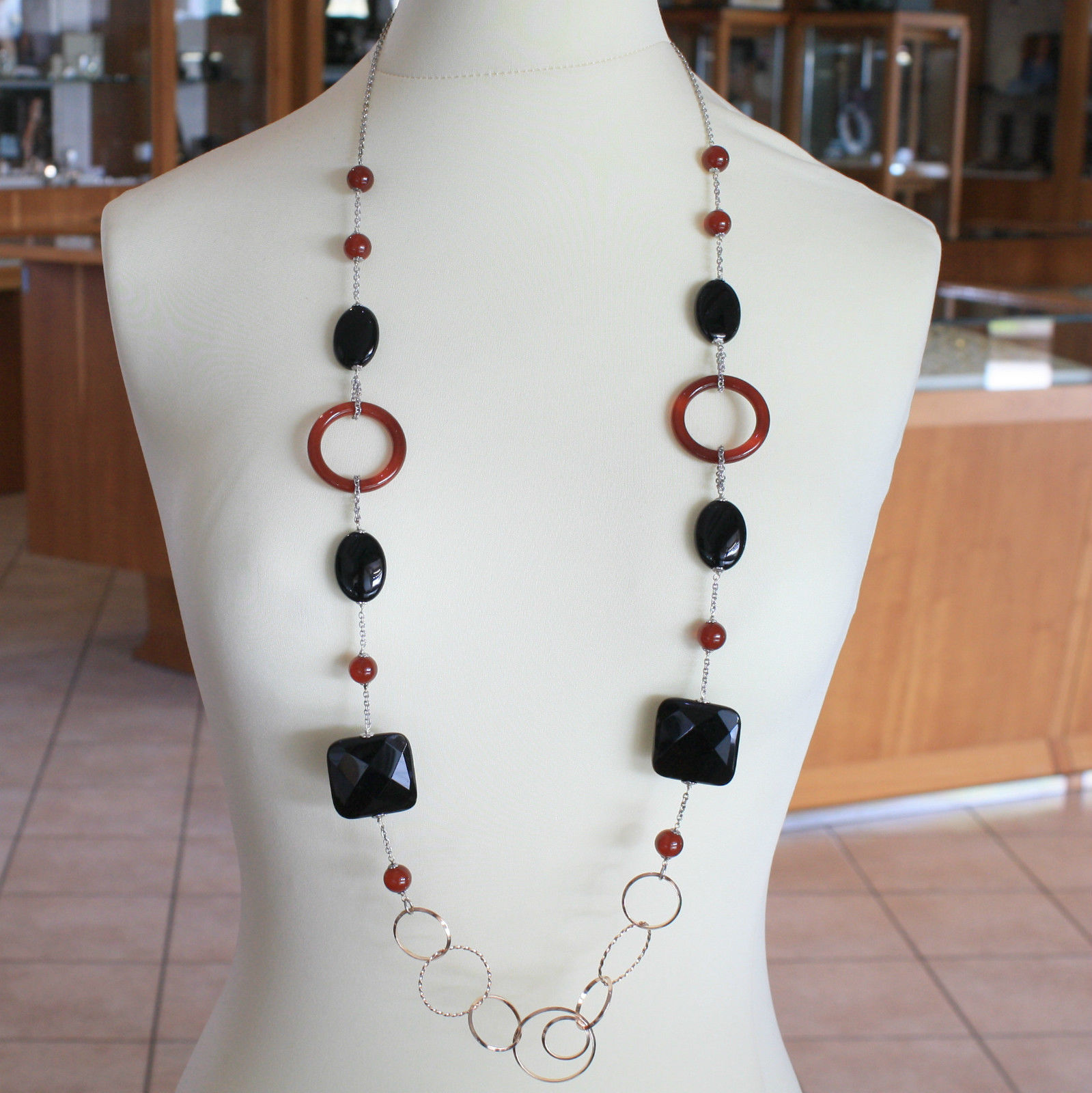 SOLID .925 RHODIUM SILVER & PLATED ROSE GOLD LONG NECKLACE WITH ONYX & CARNELIAN