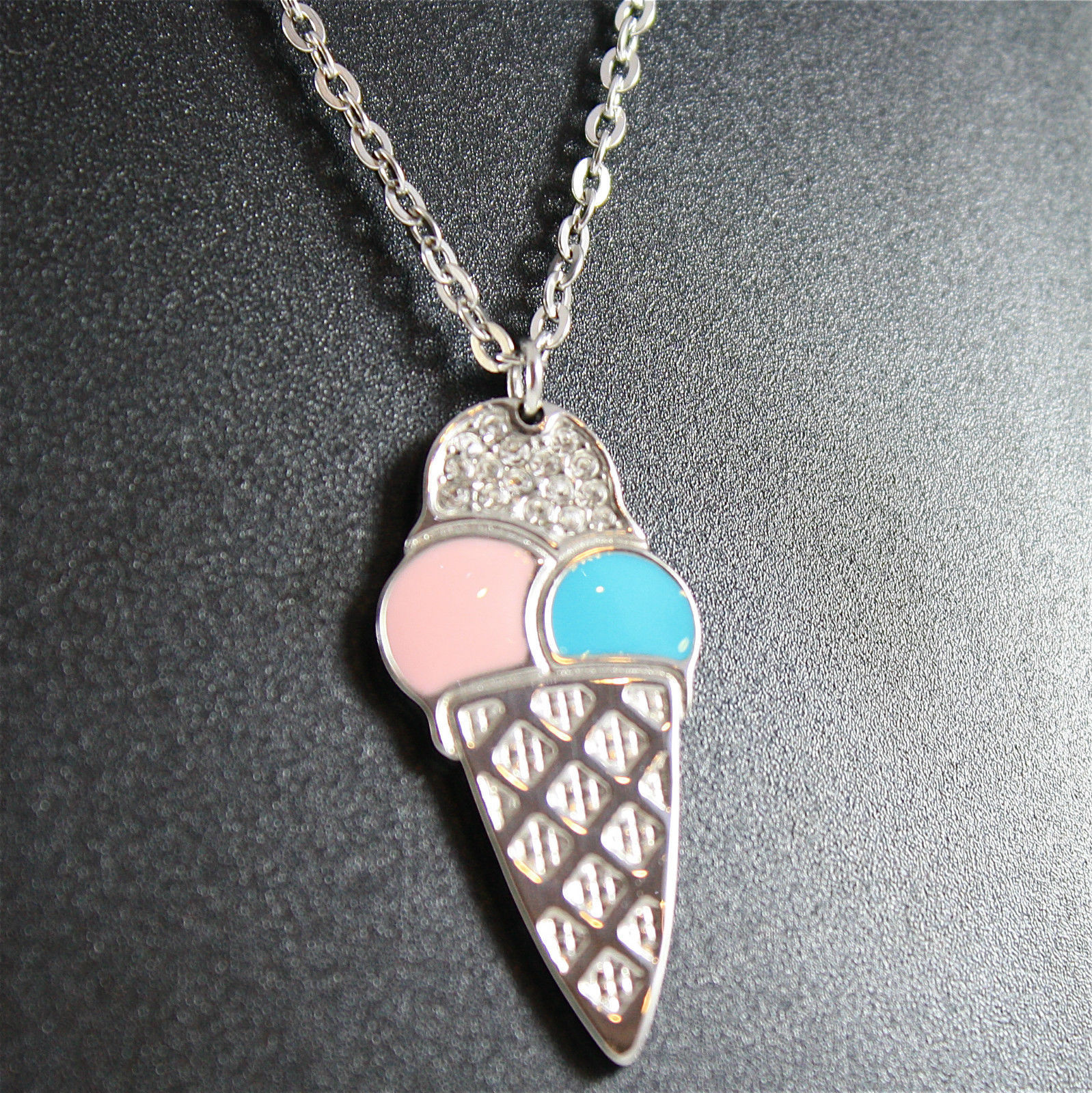 S'AGAPO' NECKLACE, ICE CREAM PENDANT, 316L STEEL, PINK-BLUE GLAZE, CRYSTALS.