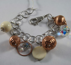 .925 RHODIUM SILVER ROSE GOLD PLATED BRACELET WITH WHITE CORAL,AND CRYSTAL