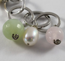 .925 RHODIUM SILVER BRACELET WITH  BAROQUE WHITE PEARLS, JADE AND PINK QUARTZ image 2