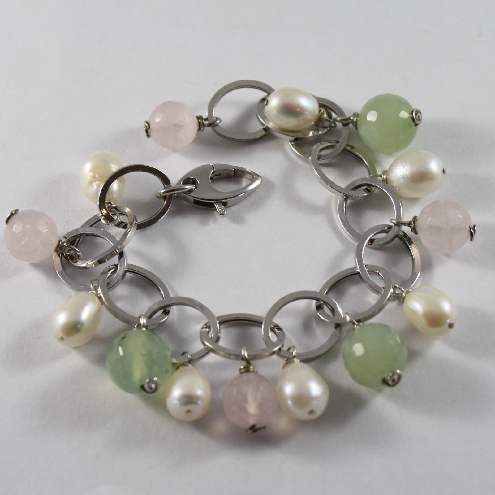.925 RHODIUM SILVER BRACELET WITH  BAROQUE WHITE PEARLS, JADE AND PINK QUARTZ